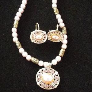4/$25 Bundle Pink Pearl Necklace Pendant Earring